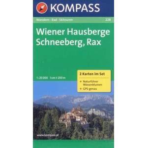 Wiener Hausberge, Schneeberg, Rax - set map Kompass č.228 - 1:25 000 /Rakousko/