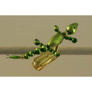 Sada na výrobu ozdoby z perliček - Ještěrka - zelená/zlatá
