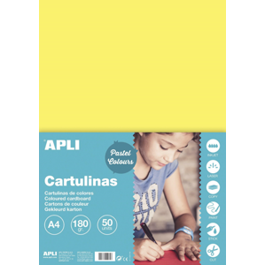 APLI sada barevných papírů A4, 170 g, světle žlutý - 50 ks