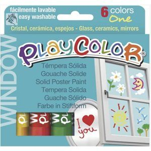Playcolor - tuhé temperové barvy na sklo - 6 ks