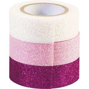 Sada samolepicích papírových washi pásek Heyda - Růžová, fialová, bílá