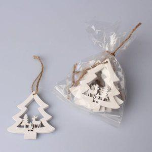 Závěsné vánoční ozdoby 6 ks - Stromečky bílé