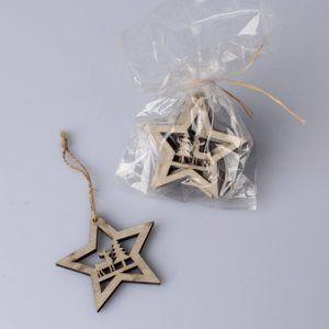 Závěsné vánoční ozdoby 6 ks - Hvězdy šedé