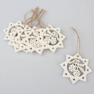 Závěsné vánoční ozdoby 6 ks - Hvězdy s ozdobami bílé