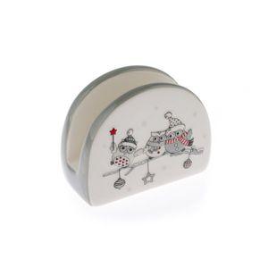 Keramický stojánek na ubrousky Vánoční sovičky