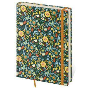 Zápisník Vario 143 x 205 mm tečkovaný - květiny