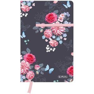 Herlitz Záznamní kniha A5 88 listů čtvereček Ladylike - květy