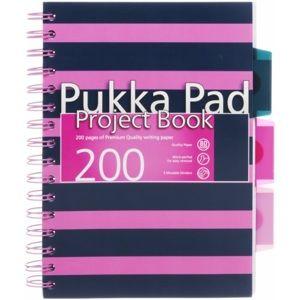 Pukka Pad Blok s rozdělovači A5 100 listů kroužková vazba linkovaný - růžový