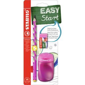 STABILO EASYgraph školní set L pro leváky - tužka HB, ořezávátko, pryž - růžová