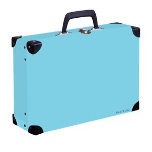 Kufřík lamino hranatý okovaný PASTELINI - modrý