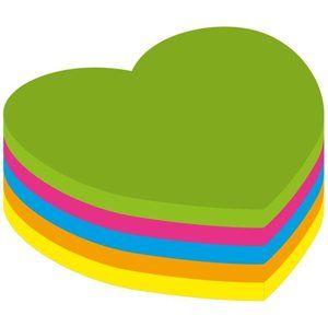 Kores Samolepicí bloček Srdce 70x70 mm - neon