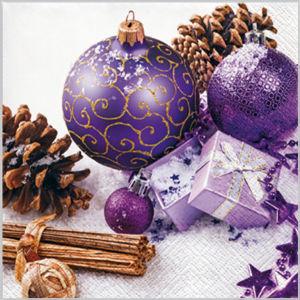 Stil Ubrousky 33 x 33 Vánoce - Fialové ozdoby s dárkem a šiškami