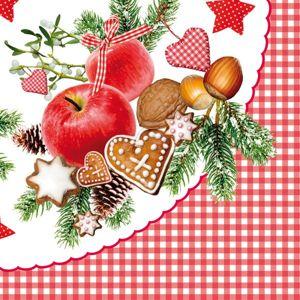 Vánoční ubrousky 33 x 33 cm, 20 ks - Vánoční talíř