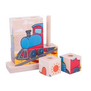Dřevěné nasazovací kostky dopravní prostředky