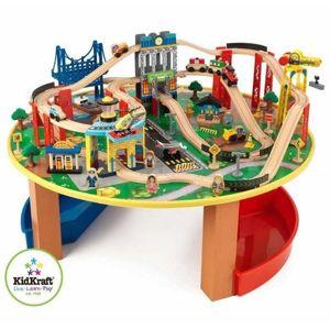 Dřevěná vláčkodráha se stolem - Megaset 102x102 cm