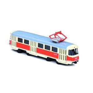 Unikátní kovová tramvaj 16cm na zpětný chod