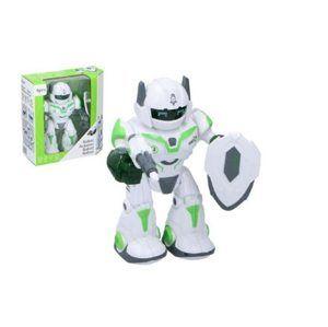 Robot chodící a otáčecí s doplňky 20cm na baterie, se zvukem a světlem
