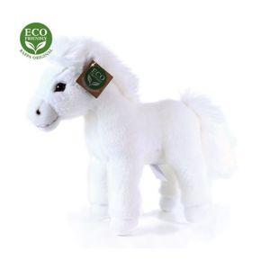 Plyšový kůň bílý stojící, 25 cm