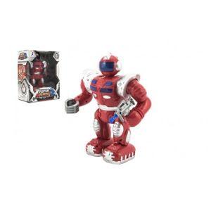 Robot bojovník chodící plast 23 cm na baterie se světlem se zvukem