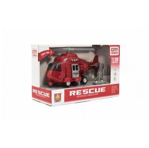 Vrtulník záchranářský plast 21 cm na setrvačník na baterie se světlem se zvukem