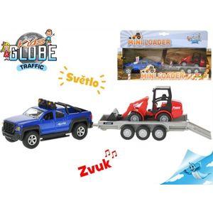 Auto Kids Globe SUV 30 cm na zpětný chod na baterie se světlem a zvukem s bagrem