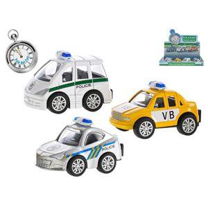 Auto policejní 7 cm kovový na zpětný chod, mix druhů