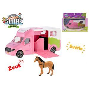 Auto přepravní 20 cm kov na setrvačník růžové na baterie se světlem a zvukem s koněm