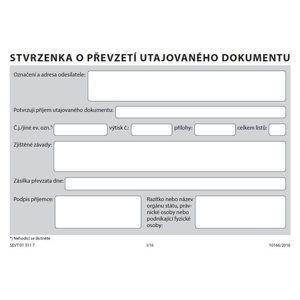 Stvrzenka o převzetí utajovaného dokumentu podle vyhlášky č. 275/ 2015 Sb.