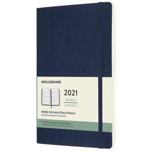 Moleskine Diář 2021 modrý L, týdenní, měkký, horizontální - neuveden
